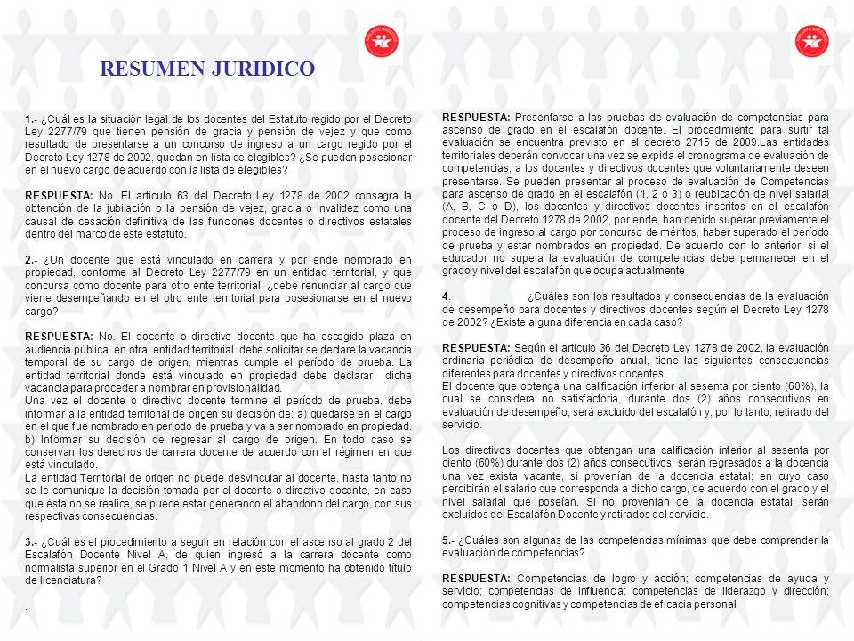 RESUMEN JURIDICO 1.- ¿Cuál es la situación legal de los docentes del Estatuto regido por el Decreto Ley 2277/79 que tienen pensión de gracia y pensión
