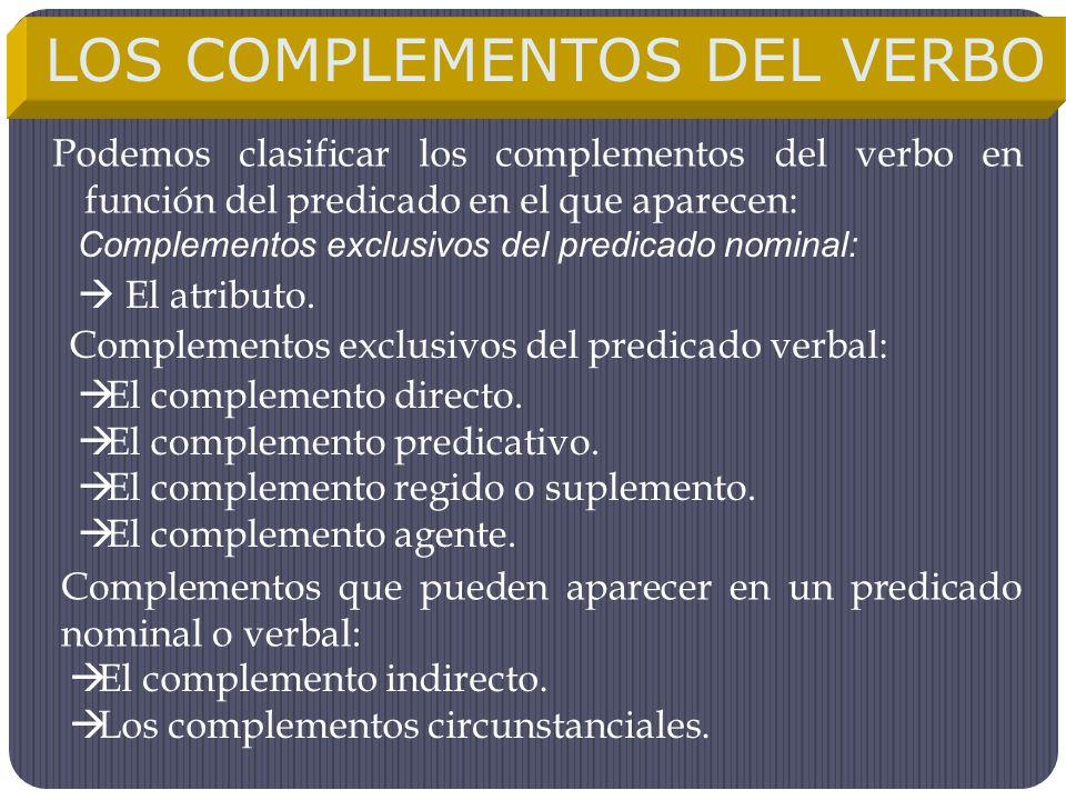 Podemos clasificar los complementos del verbo en función del predicado en el que aparecen: LOS COMPLEMENTOS DEL VERBO Complementos exclusivos del pred