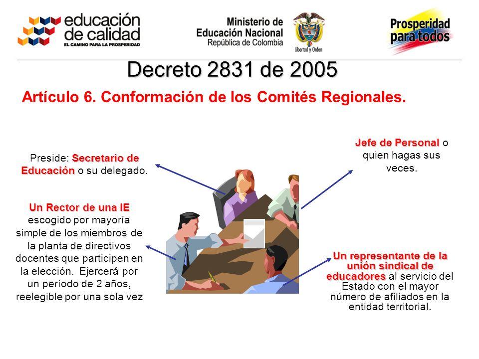 Decreto 2831 de 2005 Artículo 6. Conformación de los Comités Regionales. Secretario de Educación Preside: Secretario de Educación o su delegado. Jefe