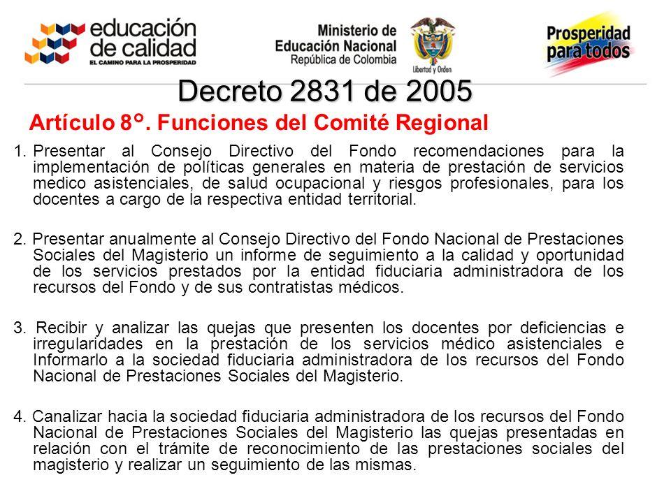 Decreto 2831 de 2005 1.Presentar al Consejo Directivo del Fondo recomendaciones para la implementación de políticas generales en materia de prestación