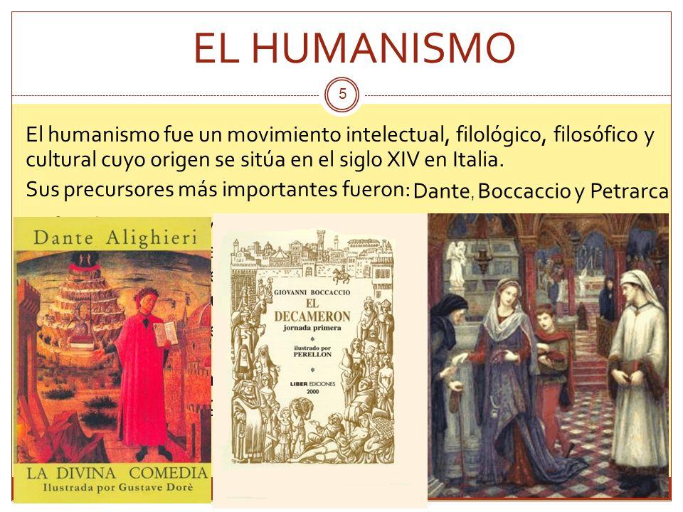 5 El humanismo fue un movimiento intelectual, filológico, filosófico y cultural cuyo origen se sitúa en el siglo XIV en Italia. Sus precursores más im