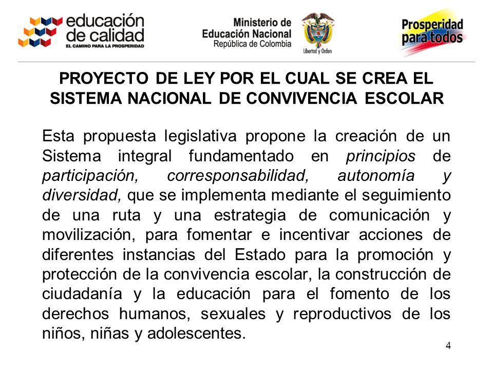 PROYECTO DE LEY POR EL CUAL SE CREA EL SISTEMA NACIONAL DE CONVIVENCIA ESCOLAR Esta propuesta legislativa propone la creación de un Sistema integral f