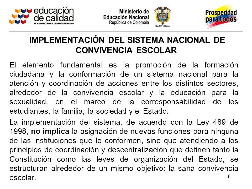 IMPLEMENTACIÓN DEL SISTEMA NACIONAL DE CONVIVENCIA ESCOLAR El elemento fundamental es la promoción de la formación ciudadana y la conformación de un s