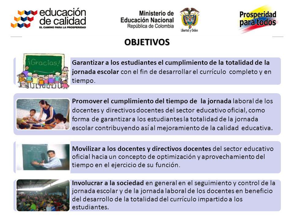 Garantizar a los estudiantes el cumplimiento de la totalidad de la jornada escolar con el fin de desarrollar el currículo completo y en tiempo. Promov