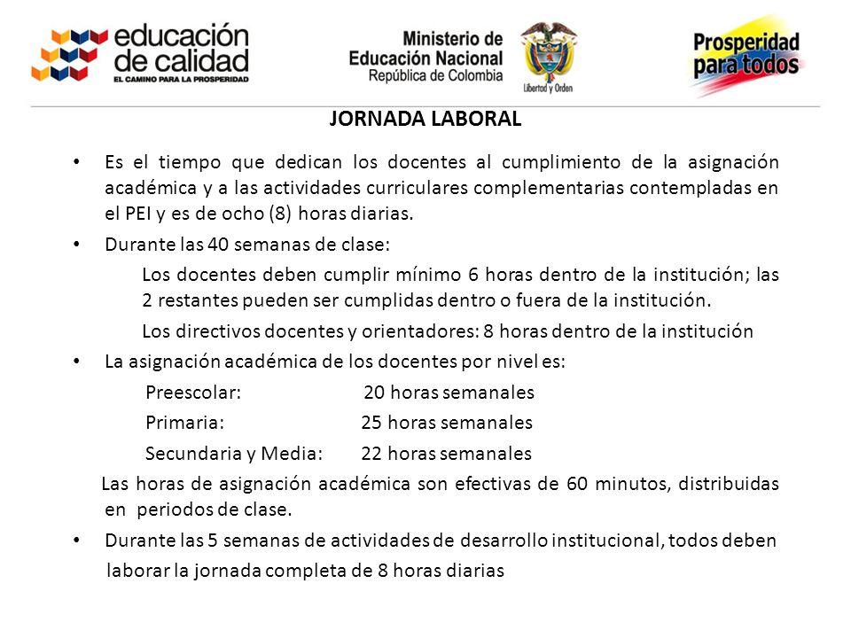 JORNADA LABORAL Es el tiempo que dedican los docentes al cumplimiento de la asignación académica y a las actividades curriculares complementarias cont