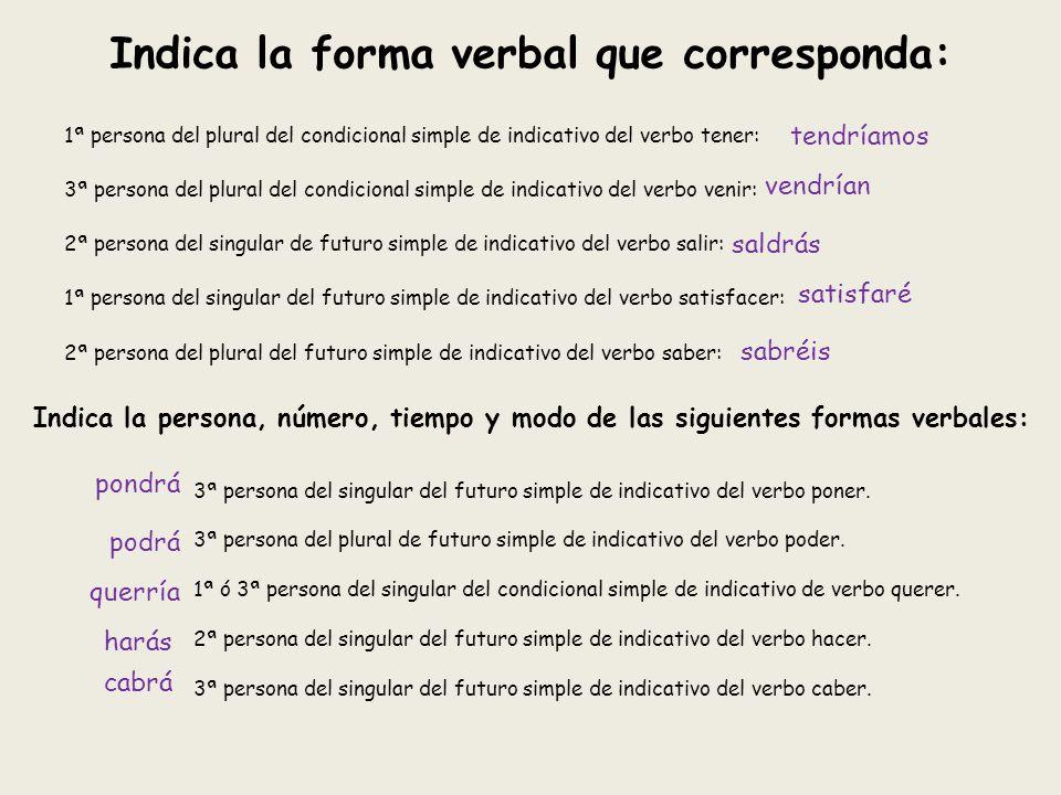1ª persona del plural del condicional simple de indicativo del verbo tener: 3ª persona del plural del condicional simple de indicativo del verbo venir