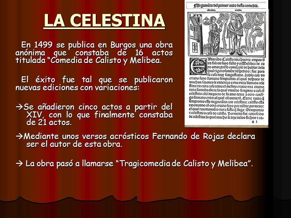 LA CELESTINA En 1499 se publica en Burgos una obra anónima que constaba de 16 actos titulada Comedia de Calisto y Melibea. El éxito fue tal que se pub
