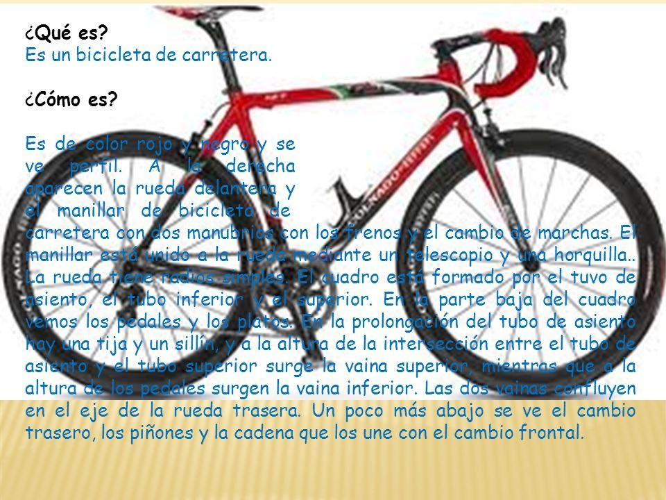 ¿Qué es? Es un bicicleta de carretera. ¿Cómo es? Es de color rojo y negro y se ve perfil. A la derecha aparecen la rueda delantera y el manillar de bi