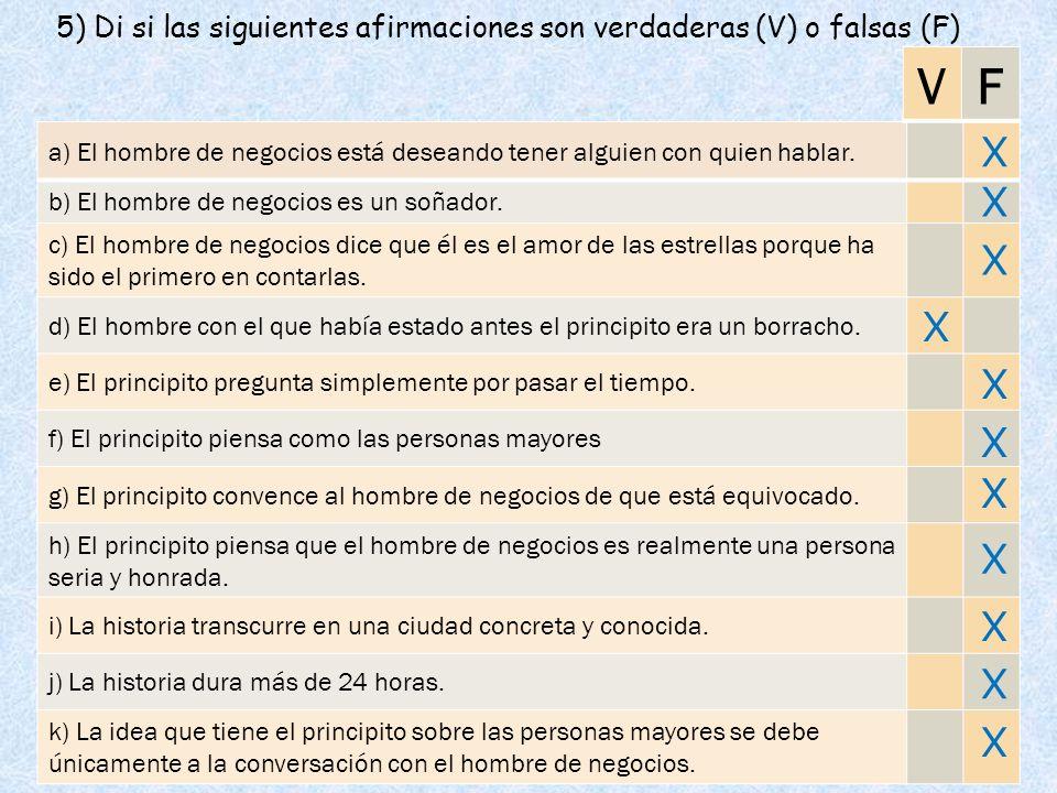 5) Di si las siguientes afirmaciones son verdaderas (V) o falsas (F) a) El hombre de negocios está deseando tener alguien con quien hablar. b) El homb