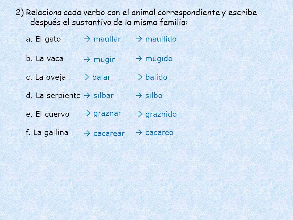 2) Relaciona cada verbo con el animal correspondiente y escribe después el sustantivo de la misma familia: a. El gato b. La vaca c. La oveja d. La ser