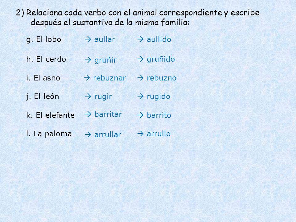 2) Relaciona cada verbo con el animal correspondiente y escribe después el sustantivo de la misma familia: g. El lobo h. El cerdo i. El asno j. El leó