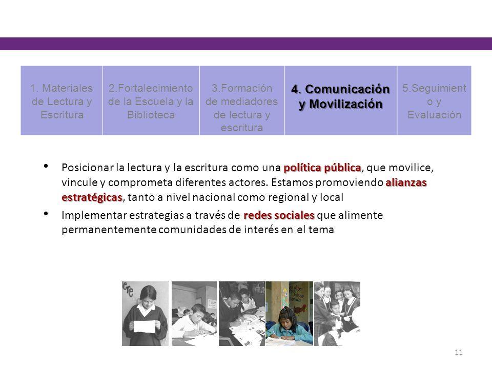 política pública alianzas estratégicas Posicionar la lectura y la escritura como una política pública, que movilice, vincule y comprometa diferentes actores.