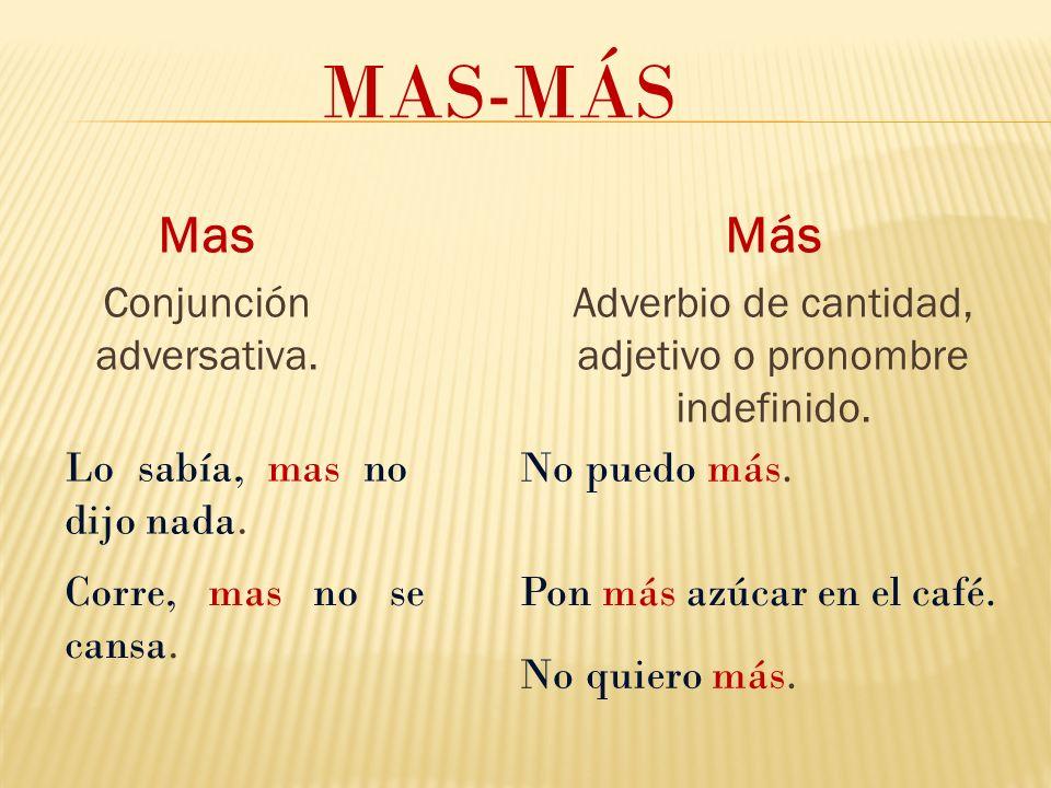 Mas Conjunción adversativa.MAS-MÁS Más Adverbio de cantidad, adjetivo o pronombre indefinido.