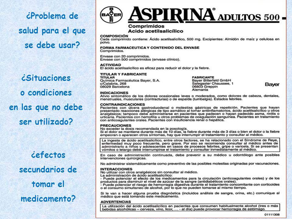 ¿Problema de salud para el que se debe usar? ¿efectos secundarios de tomar el medicamento? ¿Situaciones o condiciones en las que no debe ser utilizado