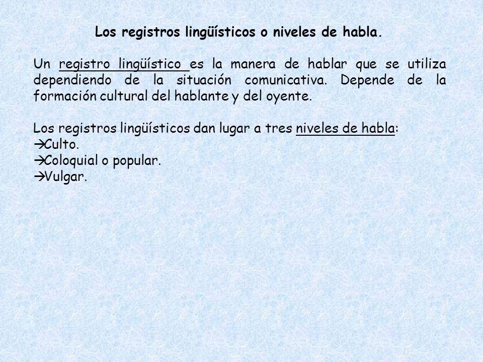 Los registros lingüísticos o niveles de habla. Un registro lingüístico es la manera de hablar que se utiliza dependiendo de la situación comunicativa.