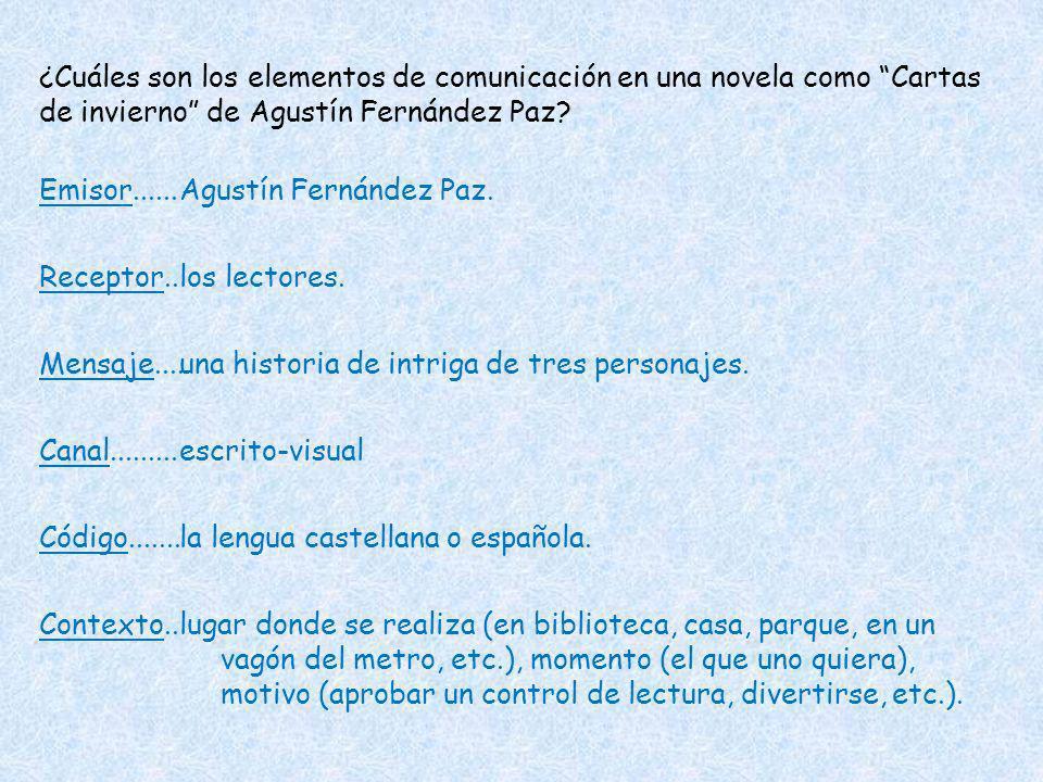 ¿Cuáles son los elementos de comunicación en una novela como Cartas de invierno de Agustín Fernández Paz? Emisor...... Receptor.. Mensaje.... Canal...