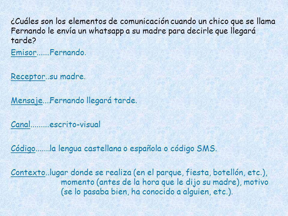 ¿Cuáles son los elementos de comunicación cuando un chico que se llama Fernando le envía un whatsapp a su madre para decirle que llegará tarde? Emisor