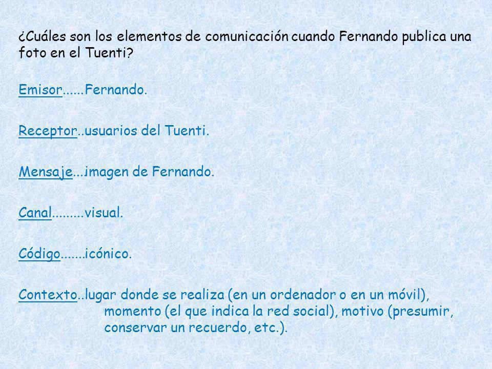 ¿Cuáles son los elementos de comunicación cuando Fernando publica una foto en el Tuenti? Emisor...... Receptor.. Mensaje.... Canal......... Código....