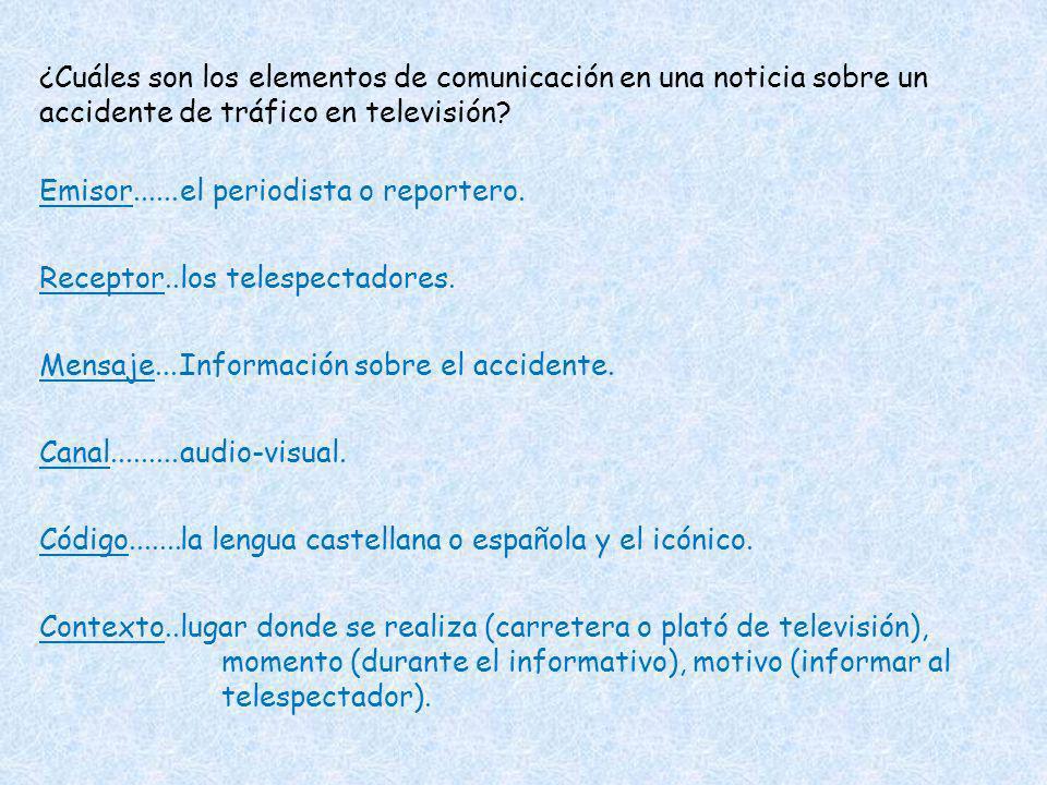 ¿Cuáles son los elementos de comunicación en una noticia sobre un accidente de tráfico en televisión? Emisor...... Receptor.. Mensaje.... Canal.......