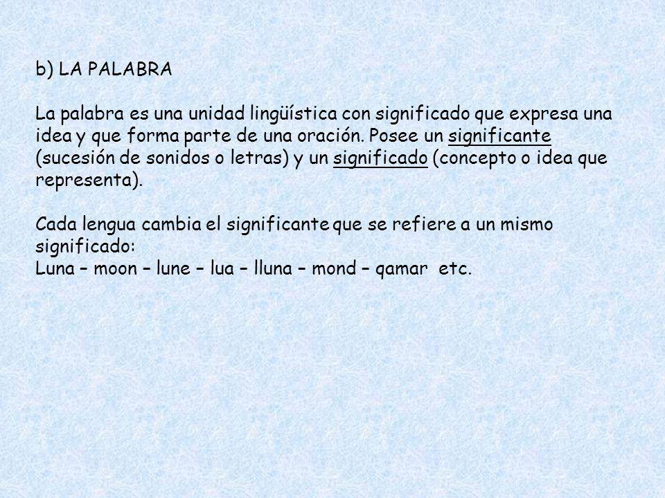b) LA PALABRA La palabra es una unidad lingüística con significado que expresa una idea y que forma parte de una oración. Posee un significante (suces