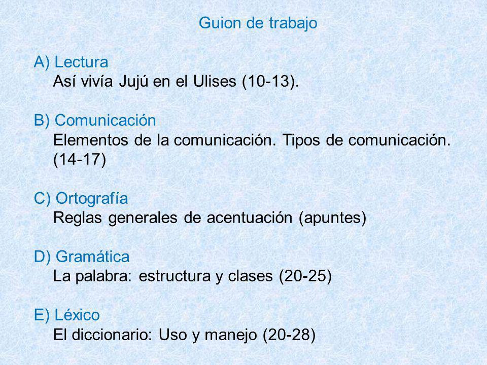 Guion de trabajo A) Lectura Así vivía Jujú en el Ulises (10-13). B) Comunicación Elementos de la comunicación. Tipos de comunicación. (14-17) C) Ortog