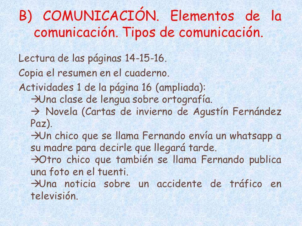 B) COMUNICACIÓN. Elementos de la comunicación. Tipos de comunicación. Lectura de las páginas 14-15-16. Copia el resumen en el cuaderno. Actividades 1