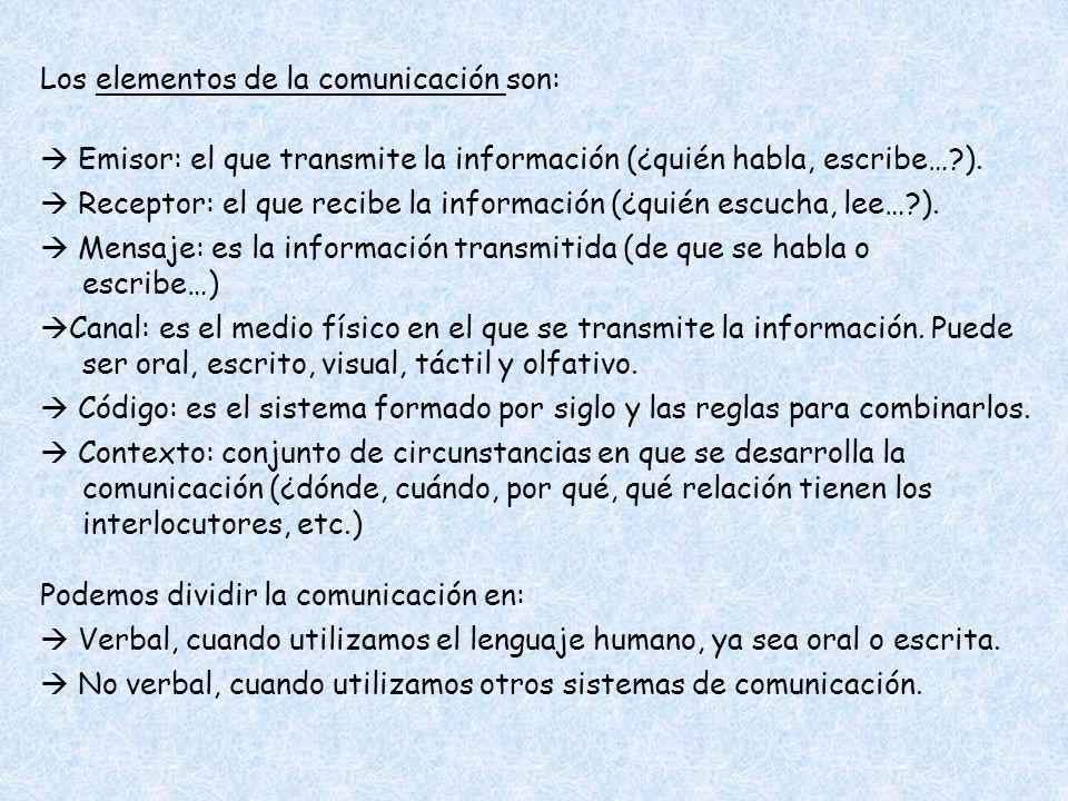 Los elementos de la comunicación son: Emisor: el que transmite la información (¿quién habla, escribe…?). Receptor: el que recibe la información (¿quié