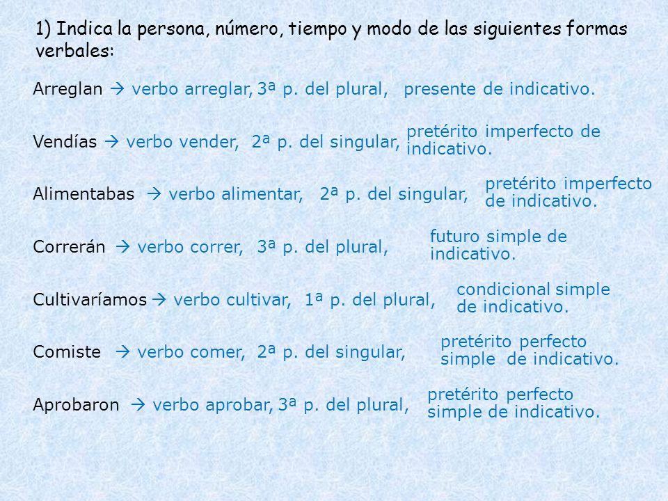 1) Indica la persona, número, tiempo y modo de las siguientes formas verbales: Arreglan Vendías Alimentabas Correrán verbo arreglar,presente de indica