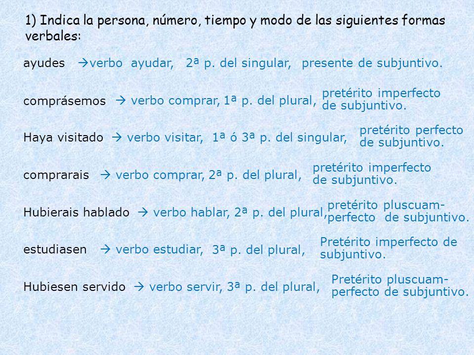 1) Indica la persona, número, tiempo y modo de las siguientes formas verbales: ayudes comprásemos Haya visitado comprarais verbo ayudar,presente de su