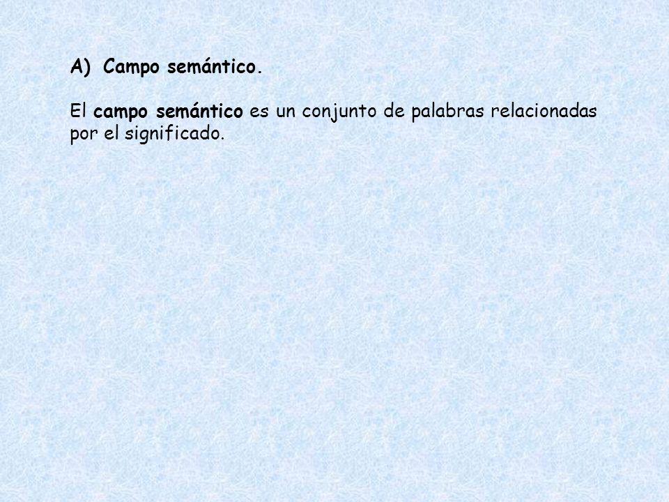 A)Campo semántico. El campo semántico es un conjunto de palabras relacionadas por el significado.