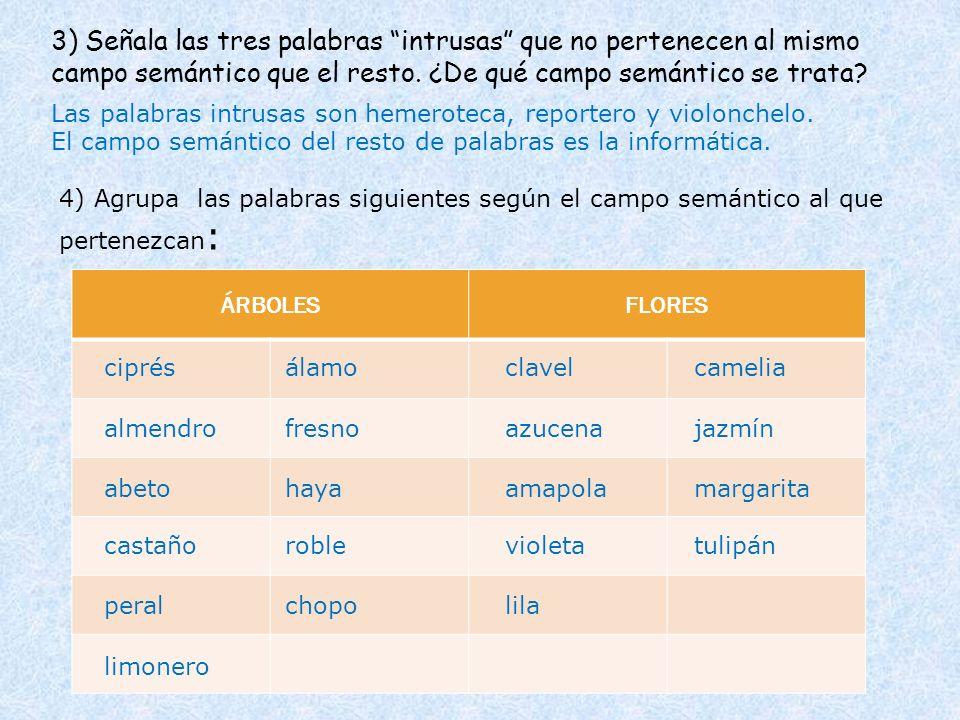 ÁRBOLESFLORES 3) Señala las tres palabras intrusas que no pertenecen al mismo campo semántico que el resto. ¿De qué campo semántico se trata? 4) Agrup