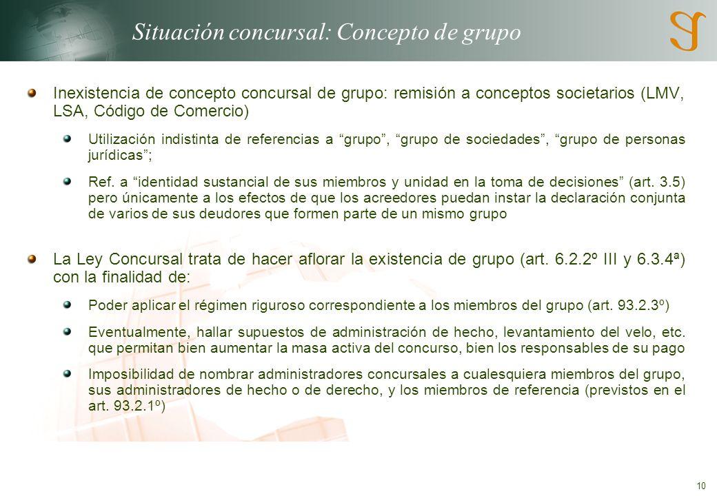 10 Situación concursal: Concepto de grupo Inexistencia de concepto concursal de grupo: remisión a conceptos societarios (LMV, LSA, Código de Comercio) Utilización indistinta de referencias a grupo, grupo de sociedades, grupo de personas jurídicas; Ref.