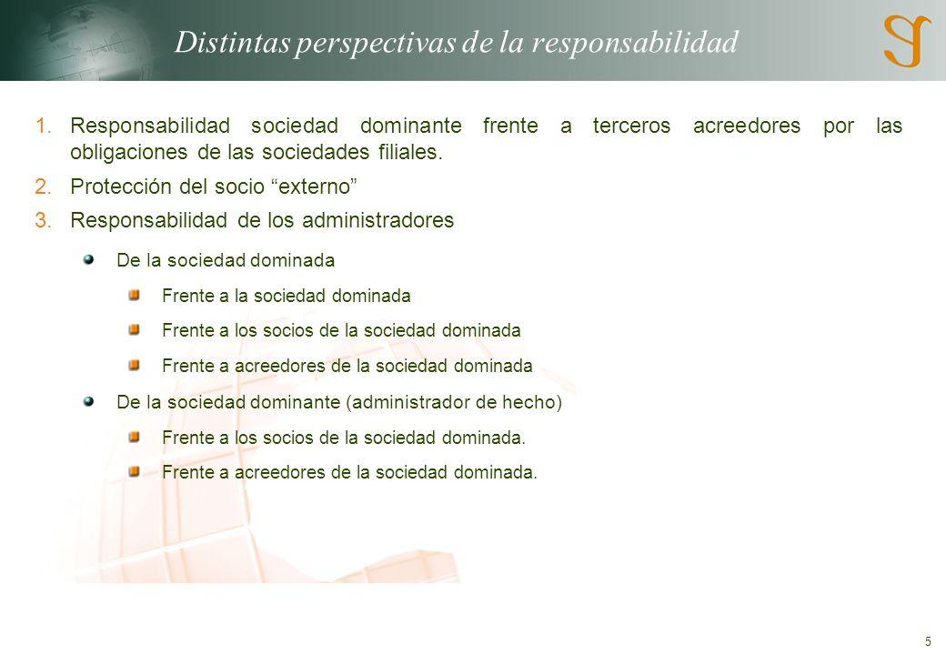 5 Distintas perspectivas de la responsabilidad 1.Responsabilidad sociedad dominante frente a terceros acreedores por las obligaciones de las sociedades filiales.
