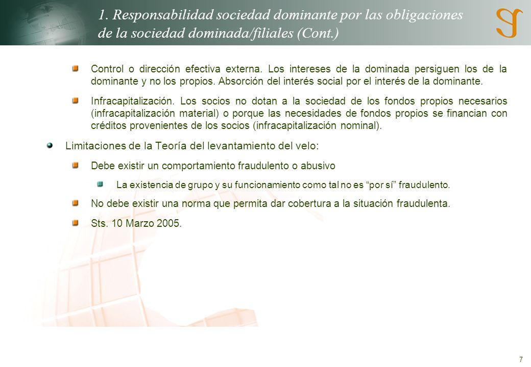 7 1. Responsabilidad sociedad dominante por las obligaciones de la sociedad dominada/filiales (Cont.) Control o dirección efectiva externa. Los intere