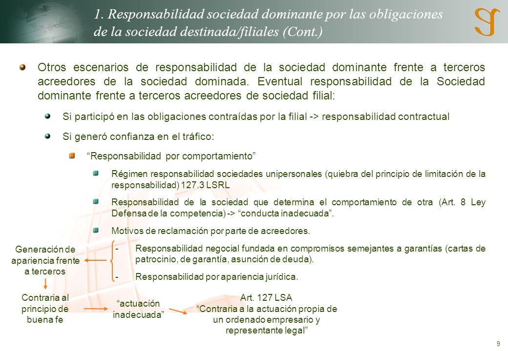 9 1. Responsabilidad sociedad dominante por las obligaciones de la sociedad destinada/filiales (Cont.) Otros escenarios de responsabilidad de la socie