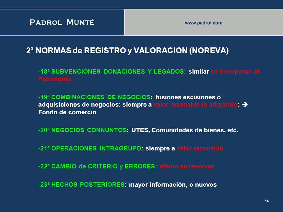 13 2ª NORMAS de REGISTRO y VALORACION (NOREVA) -10ª. EXISTENCIAS: Valoración inventarios: NO LIFO -11ª. MONEDA EXTRANJERA: las diferencias positivas d