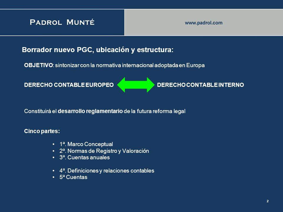 1 El Borrador de PGC: una visión general de los principales cambios Terrasa, 30 de marzo de 2007 Enrique Ortega Carballo Inspector de Hacienda del Est