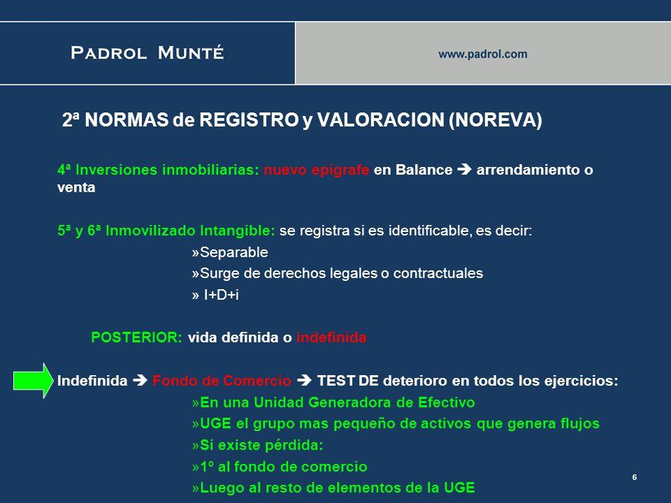 5 2ª NORMAS de REGISTRO y VALORACION (NOREVA) 2ª y 3ª Inmovilizado material: DETERIORO DE VALOR: en función de valor recuperable: Primero: existencia