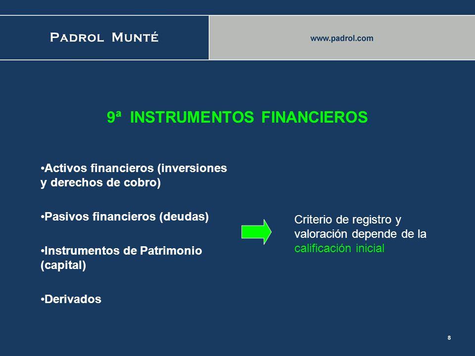 7 2ª NORMAS de REGISTRO y VALORACION (NOREVA) 7ª ACTIVOS NO CORRIENTES MANTENIDOS PARA LA VENTA: -Se prevé vender en 1 año -Cesa amortización -Se valo