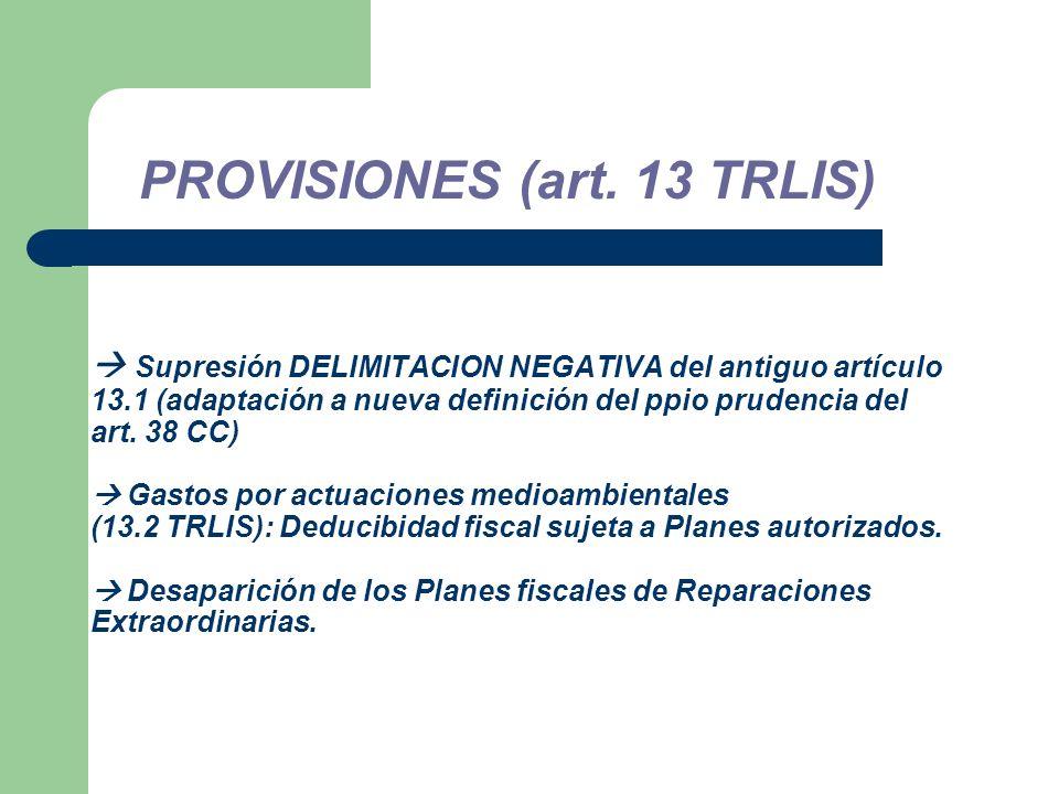 Supresión DELIMITACION NEGATIVA del antiguo artículo 13.1 (adaptación a nueva definición del ppio prudencia del art.