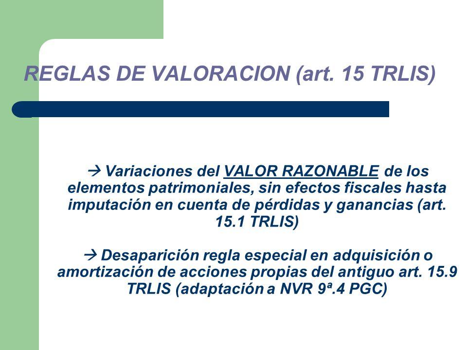 Variaciones del VALOR RAZONABLE de los elementos patrimoniales, sin efectos fiscales hasta imputación en cuenta de pérdidas y ganancias (art.