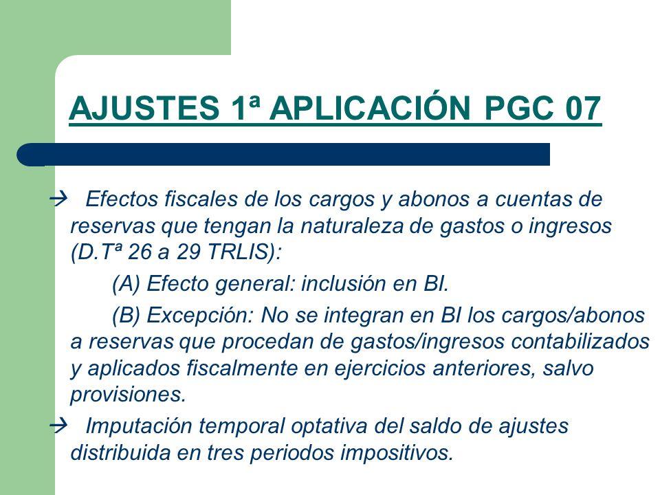 AJUSTES 1ª APLICACIÓN PGC 07 Efectos fiscales de los cargos y abonos a cuentas de reservas que tengan la naturaleza de gastos o ingresos (D.Tª 26 a 29 TRLIS): (A) Efecto general: inclusión en BI.