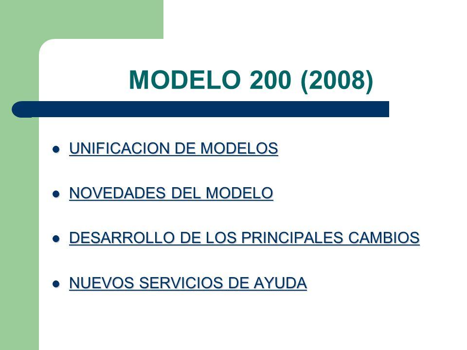 MODELO 200 (2008) UNIFICACION DE MODELOS UNIFICACION DE MODELOS NOVEDADES DEL MODELO NOVEDADES DEL MODELO DESARROLLO DE LOS PRINCIPALES CAMBIOS DESARROLLO DE LOS PRINCIPALES CAMBIOS NUEVOS SERVICIOS DE AYUDA NUEVOS SERVICIOS DE AYUDA