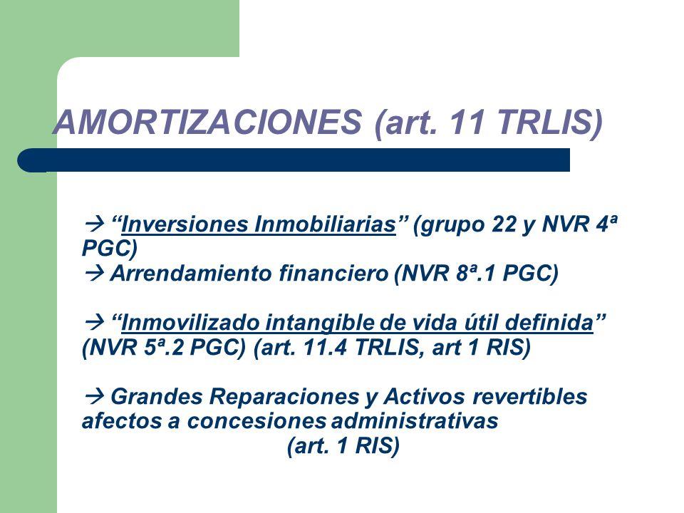 Inversiones Inmobiliarias (grupo 22 y NVR 4ª PGC) Arrendamiento financiero (NVR 8ª.1 PGC) Inmovilizado intangible de vida útil definida (NVR 5ª.2 PGC) (art.
