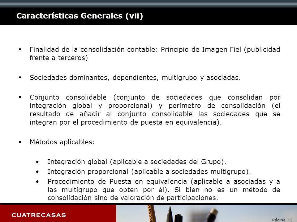 Página 12 Características Generales (vii) Finalidad de la consolidación contable: Principio de Imagen Fiel (publicidad frente a terceros) Sociedades dominantes, dependientes, multigrupo y asociadas.