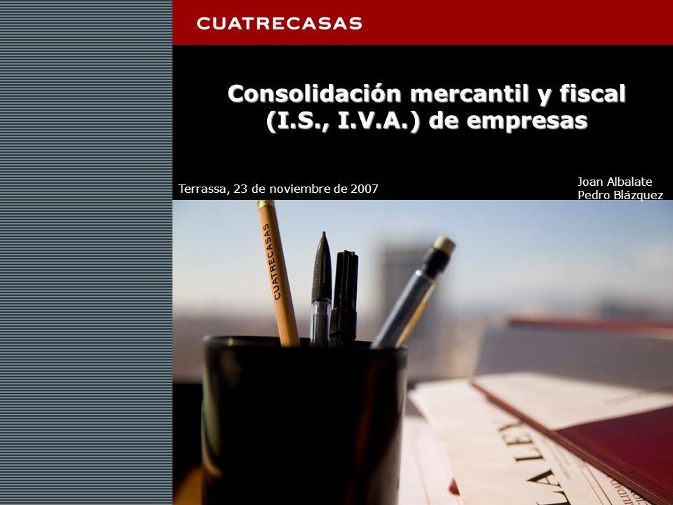 Página 2 Consolidación mercantil y fiscal (I.S., I.V.A.) de empresas Terrassa, 23 de noviembre de 2007 Joan Albalate Pedro Blázquez