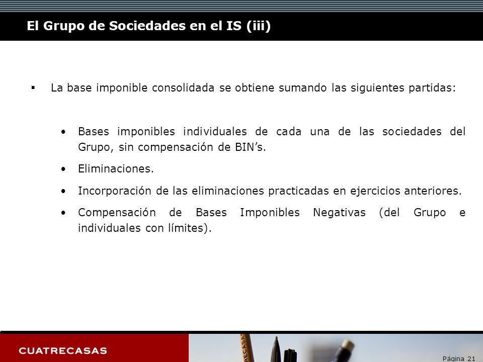 Página 21 La base imponible consolidada se obtiene sumando las siguientes partidas: Bases imponibles individuales de cada una de las sociedades del Grupo, sin compensación de BINs.
