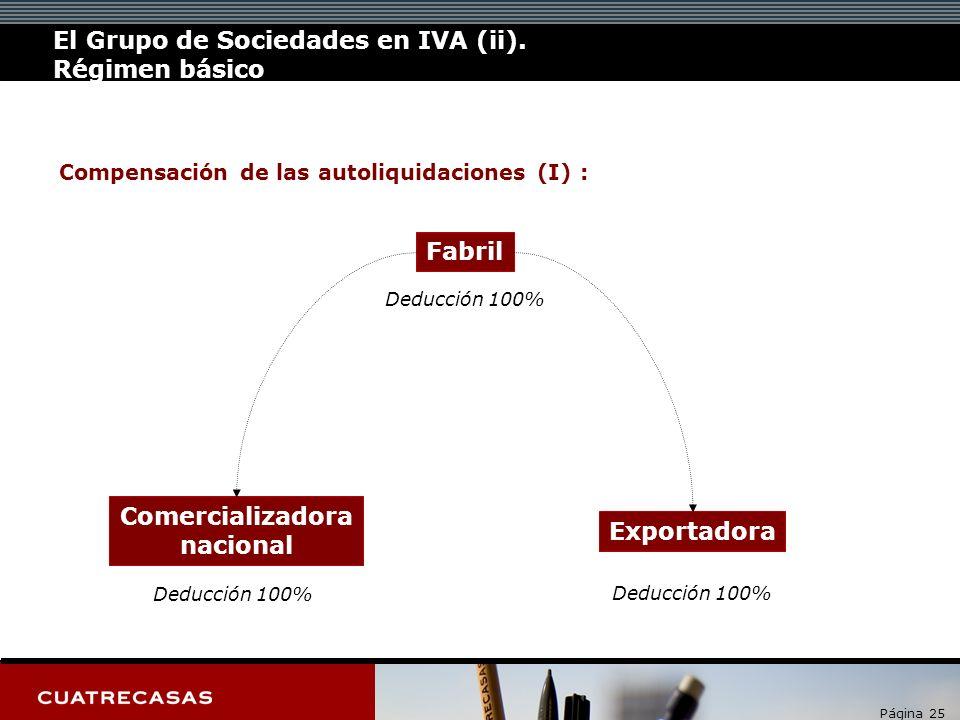 Página 25 Compensación de las autoliquidaciones (I) : Fabril Comercializadora nacional Deducción 100% Exportadora Deducción 100% El Grupo de Sociedade