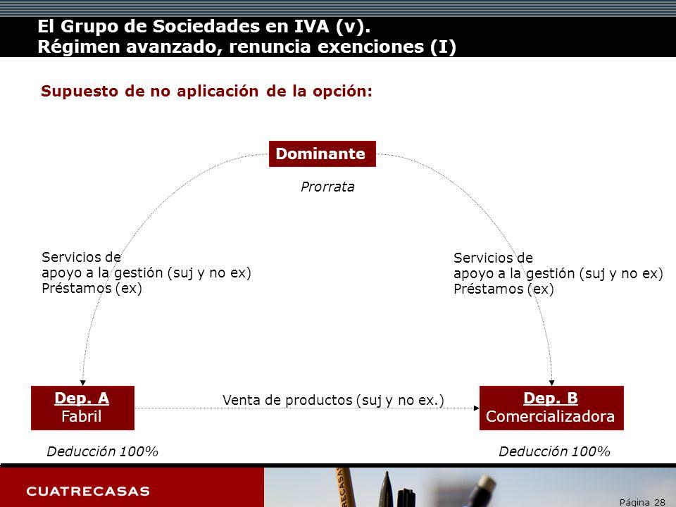 Página 28 Servicios de apoyo a la gestión (suj y no ex) Préstamos (ex) Dominante Dep.