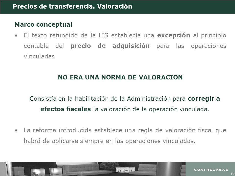 10 Precios de transferencia. Valoración Marco conceptual El texto refundido de la LIS establecía una excepción al principio contable del precio de adq